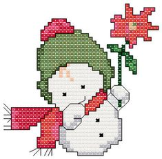 Punto De Cruz Snowbaby with Flower cross stitch pattern. - Snowbaby with Flower cross stitch pattern. Hang this cute little guy on your tree. Xmas Cross Stitch, Simple Cross Stitch, Cross Stitch Flowers, Counted Cross Stitch Patterns, Cross Stitch Charts, Cross Stitch Designs, Cross Stitching, Cross Stitch Embroidery, Embroidery Patterns