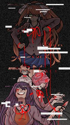 Doki Doki Literature Club | Monika, Sayori, Natsuki, Yuri || Art by florinertia on Instagram, Tumblr and Twitter