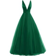 Amazon.com: Bess Bridal Women´s Tulle Deep V Neck Prom Dress Formal... ($89) ❤ liked on Polyvore featuring dresses, gowns, green ball gown, prom ball gowns, prom gowns, bridal dresses and green prom dresses