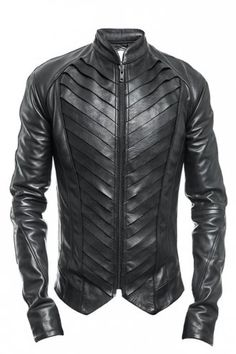 Delusion Splice Leather Jacket Black