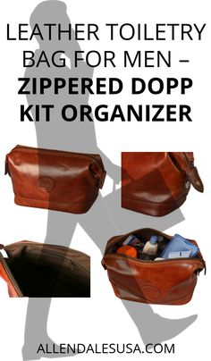 Leather Toiletry Bag for Men – Zippered Dopp Kit Organizer – Brown Travel  Shaving Kit Case b1bc1060b3e97