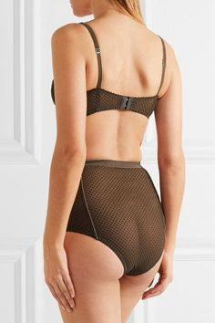 Lonely - Gigi Flocked Stretch-tulle High-rise Briefs - Army green - small