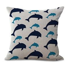 Navy Dolphin Home Decorative Cushion Cover Throw Pillow Case
