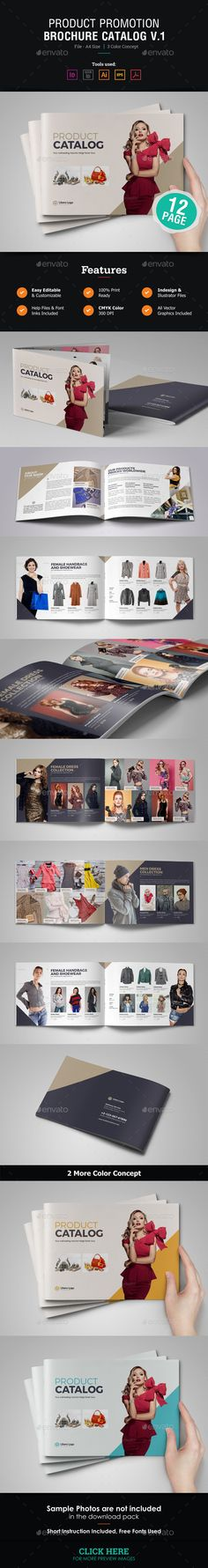 Product Promotion Brochure Catalog Template Vector EPS, InDesign INDD, AI Illustrator #design