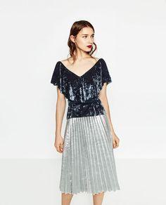 Image 1 of FRILLED VELVET TOP from Zara