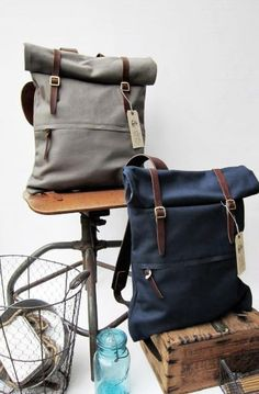 Bags collection Sth. Roll top Rucksack. gift for modern man