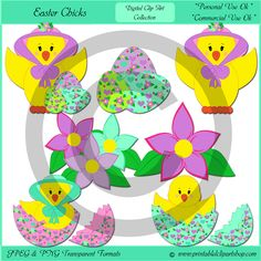 Easter chicks clip art collection contains 7 images. You get a chick wearing a Easter hat with Easter eggs, You get two different chicks inside of Easter eggs, you also get eggs, and flowers with this collection.