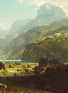 Albert Bierstadt. Lake Lucerne, 1858. Detail.