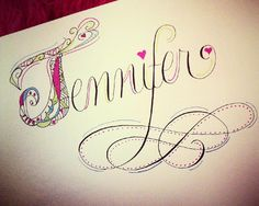 Colorful illustrated name mixed with Calligraphy. Perfect for custom stationery!