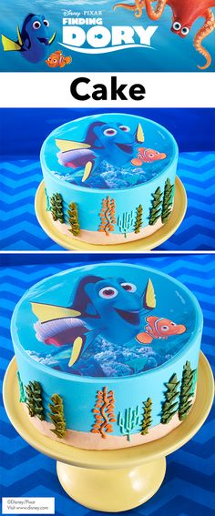 Easy Finding Dory Cake - Create this Just Keep Swimming! Finding Dory Cake in just a few simple steps. Great for a movie premier party or a birthday party, this layered cake is topped with a colorful Sugar Sheet, which is 100 percent edible. If you're celebration requires a larger cake, this Sugar Sheet will also fit a 9 in. cake, as well. A simple bead boarder helps add dimension and style to this fun and friendly treat!
