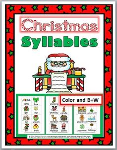 Christmas Syllables Sorting Activity (Color and B+W)
