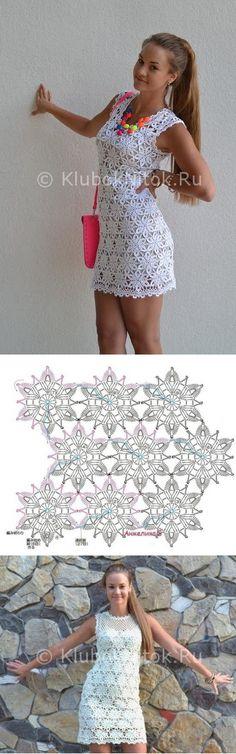 Летнее белое платье из мотивов | Вязание для женщин | Вязание спицами и крючком. Схемы вязания.