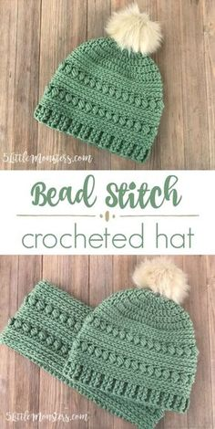The bead stitch crochet hat is make with alternating rounds of bead stitch and half double crochet. It had a post stitch ribbing around the bottom and a faux fur pom pom on the top. #CrochetGifts