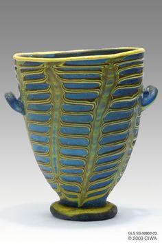 Polychrome glass cup, Period: Egypt, New Kingdom, Dynasty 18. 1370–1335 BC. Egypt, Middle Egypt, El-Amarna [Akhetaten]