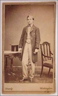 Rare Carte de Visite, full figure portrait of Robert Todd Lincoln, Abraham and Mary Lincoln's oldest son. Mathew Brady Washington D.C. Studio c. 1861.
