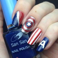 "This The Nailinator design incorporates a variety of elements from the ""A"" helmet, to the target-style shield. So if you're a Captain America fan (and with Chris Evans, who isn't these days?), you should test out this patriotic mani."