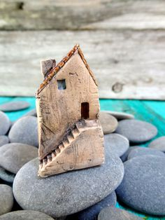 Miniature Tuscan farm house- OOAK ceramic mini home- handmade sculpture