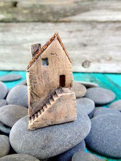 Miniature Tuscan farm house- OOAK ceramic mini home- handmade sculpture