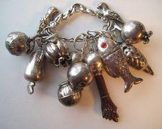 VTG Brazilian PENCA de BALANGANDAN Silver Plated Pendant Symbolic Charms FIGA