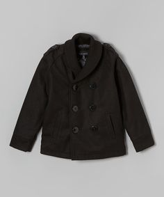 Take a look at the Black Peacoat - Infant, Toddler & Boys on #zulily today!