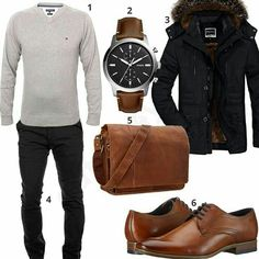 Men's outfit with parka, shoulder bag and sweater - Style - Combins Casual Outfits, Men Casual, Fashion Outfits, Parka Outfit, Tommy Hilfiger Pullover, Style Hipster, Mode Man, Style Masculin, Herren Style