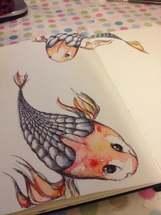 moleskine page #1   koi - watercolour and biro