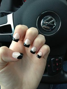Black and white angled French manicure
