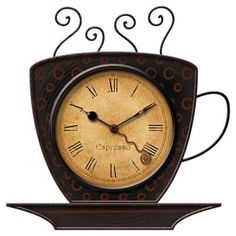FirsTime 9 in. x 9 in. Bronze Square Coffee Cup Wall Clock-25524 at The Home Depot