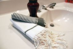 #fouta guest towels that add sparkle to any bathroom. Available individually or in sets: www.scentsandfeel.com