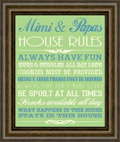 Mimi and Papa Gift - House Rules Art Print - Gifts for Grandparents - Grandparent Print - Gift for Grandma - Home Wall Decor - Grandpa Gift on Etsy, $13.00