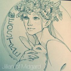 jillianofmidgard: The real reason we paint eggs and worship a rabbit. Thought I'd do a sketch in reverence of the Goddess of the Season (crowned with the most abundant spring flower around here, the Dandelion) before I head out to my family's house to gorge on ham and deviled eggs. ❤️❤️ #art #drawing# sketch# #illustration #pencil #graphite #easter #eostre #ostara #pagan #asatru #heathen #viking #dandelion #rabbit #bunny