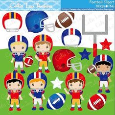 Football Boys Party clipart Set includes 17 cute graphics. Graphics are PERFECT for the Scrapbooking, Cards Design, Stickers, Paper Crafts, Web Design, T-shirt Design...More and more! Whatever your want! [Details] ‧This is a digital download products ‧Saved in PNG format (individual