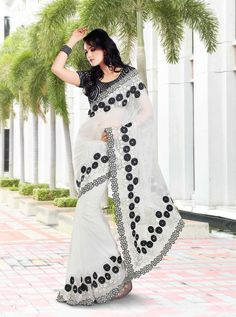 Beautiful Black & white net Saree with flower border