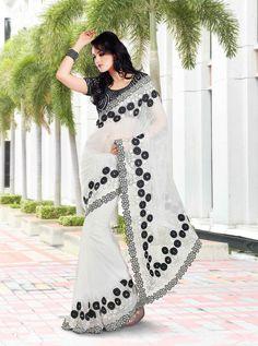 Beautiful Black & white net Saree with flower border