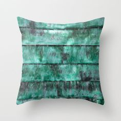 Turquoise abstract decorative pillow teal striped by NewCreatioNZ