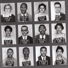 My former minister, Wyatt Walker, along with his wife, Theresa Walker in second row, far left.    Freedom Riders' Mugshots, 1961 via teenage film.com