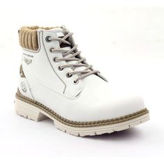 Comfortable and very warm white women's shoes. The shoes were made using the highest quality organic leather. Thanks to this footwear is resistant to mechanical damage. Trekking Shoes, White Heels, White Women, Shoe Collection, Timberland Boots, Winter Boots, Different Styles, Baby Shoes, Footwear