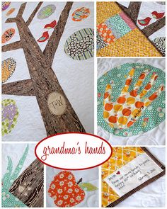 Family tree quilt - love the tree trunk with initials