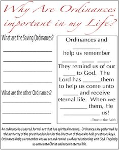 The Things I Love: Ordinances and Covenants - July Youth Handouts {Spanish & English}