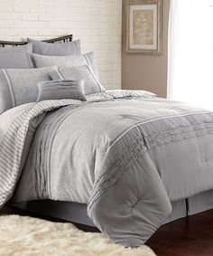 Look at this #zulilyfind! Gray Camila Pleated Comforter Set by Colonial Home Textiles #zulilyfinds