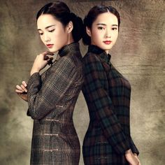 cheongsam qipao old republic style classic traditional plaid wool dress  handmade tailor made wedding 859d413b85ad