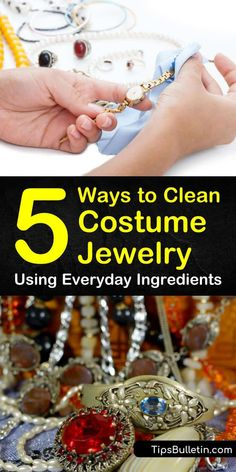 Jewelry OFF! Tips and tricks for how to clean costume jewelry like necklaces and bracelets. Learn how to clean sterling silver and gold-plated costume jewelry at home. Use these simple methods to remove tarnish and discoloration using baking soda. Diy Cleaning Products, Cleaning Hacks, Brush Cleaning, Hacks Diy, Cleaning Solutions, Vintage Costume Jewelry, Vintage Costumes, Costume Jewelry Crafts, Vintage Jewelry