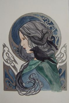 Morrigan Original Painting Watercolor and by MichelleLynneArt, $40.00