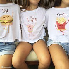 Pack de tres camisetas cortas BFF para chichas Confezione da tre magliette corte BFF per chicha Best Friend T Shirts, Bff Shirts, Best Friend Outfits, Cute Shirts, Twin Outfits, Cute Girl Outfits, Kids Outfits Girls, Matching Outfits, Matching Shirts