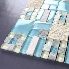 [KINGHAO] Blue & white color mix Luminous glass mosaic & stone mosaic tiles for kitchen backsplash Bathroom Floor Tiles, Wall And Floor Tiles, Kitchen Backsplash, Stone Mosaic Tile, Mosaic Glass, Mosaic Wall, Wall Tile, Glass Tile Backsplash, Retro