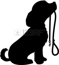 A black silhouette of a sitting dog holding it s leash in it s mouth patiently waiting to go for a w Stock Photo