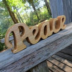 wooden peace sign shelf sitter word art by manwood on Etsy, $9.00