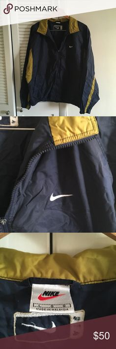 Navy blue and gold vintage vtg Nike Windbreaker Navy blue and gold vintage vtg 90s Windbreaker retro jacket  Supreme condition  No stains no damages no holes  Fits perfect to size  Willing to negotiate offer Nike Jackets & Coats Windbreakers