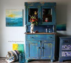 The Turquoise Iris :l: CeCe Caldwell's Chalk + Clay Paints  :l: Windsor Blue :l:  Carolina Sun Yellow :l: Painted Furniture :l: Bohemian :l: Furniture Art