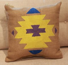 Burlap Pillow  Aztec Tribal Pillow  Made to by TwoPeachesDesign, $32.00 - Choose your own colors! #boho #aztec #tribal